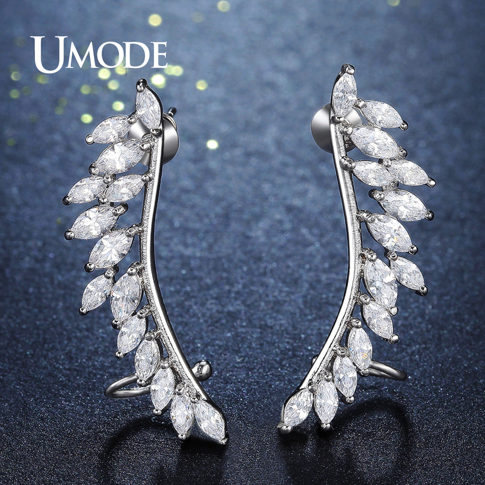 UMODE Brand Design Fashion Feather Crystal Stud Earrings for Women Silver Color Jewelry Leaf Earrings Pins Brincos Femme UE0267 pair of stylish rhinestone palm leaf stud earrings for women
