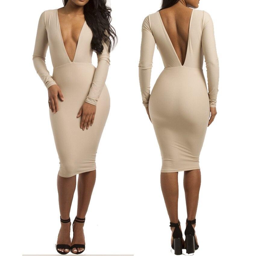 8c35c71d6edd Women Deep V Neck Dress Summer Long Sleeve Sexy Club Low Cut Bodycon  Bandage Dress Backless Package Hip Midi Deep V Neck Dress