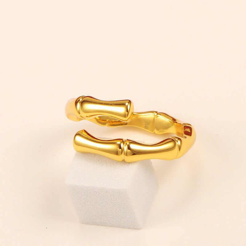 MxGxFam Tre knot Nhẫn (Khai Trương) Cho Phụ Nữ Người Đàn Ông Cổ Điển 24 k màu Vàng Tinh Khiết Đồ Trang Sức Cá Nhân