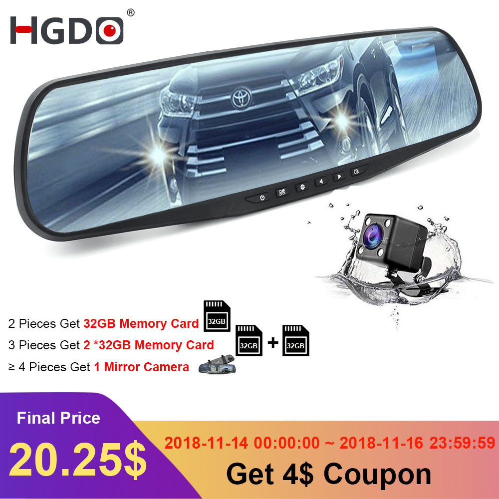 HGDO DVR Car dash cam Dual Lens Rearview Mirror 4.3inch Full HD 1080P Video Recorder DVR Auto Registrator Camcorder dash camera цена