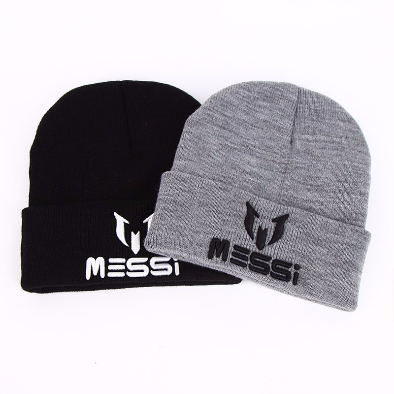 TUNICA New Soccer Messi Fans Hat women Men   Skullies   Black Gray Women   Beanie   Whiter Hats   Beanies   Warm Knitted Hat Wool Cap Gorros