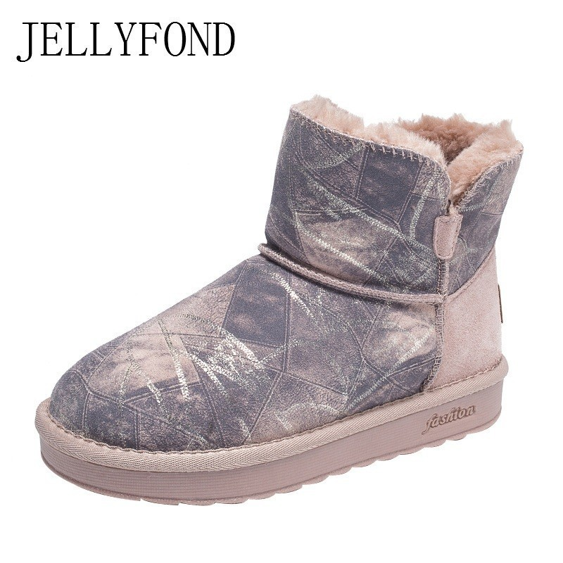 Brand Snow Boots Women Print Cow Suede Plush Fur Warm Ankle Boots 2018 Winter Platform Casual Shoes Woman Zapatos Mujer Botas ep3c55f484c6n fpga 484 bga new
