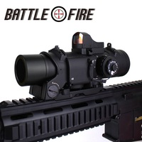 Tactical 1 4x Fixed Dual Purpose Rifle Scope killflash with Red Dot Collimator Riflescope Sight for Hunting AK47 for gun