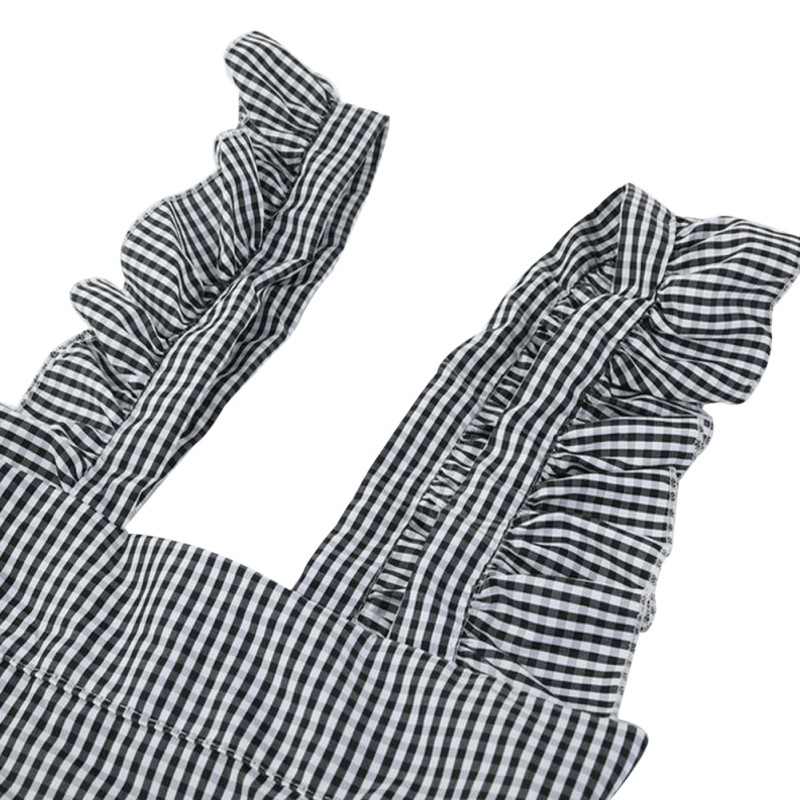 Women Plaid Backless Summer Dress Sexy Sleeveless Ruffles Casual plaid print sleeveless Mini Suspenders Dress in Dresses from Women 39 s Clothing