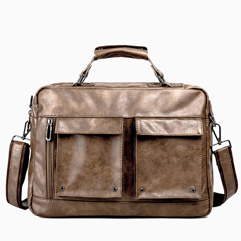 High Quality Leather Briefcase Multi pocket Mens Handbag Business Laptop Bag Single Crossbody Shoulder office Bags