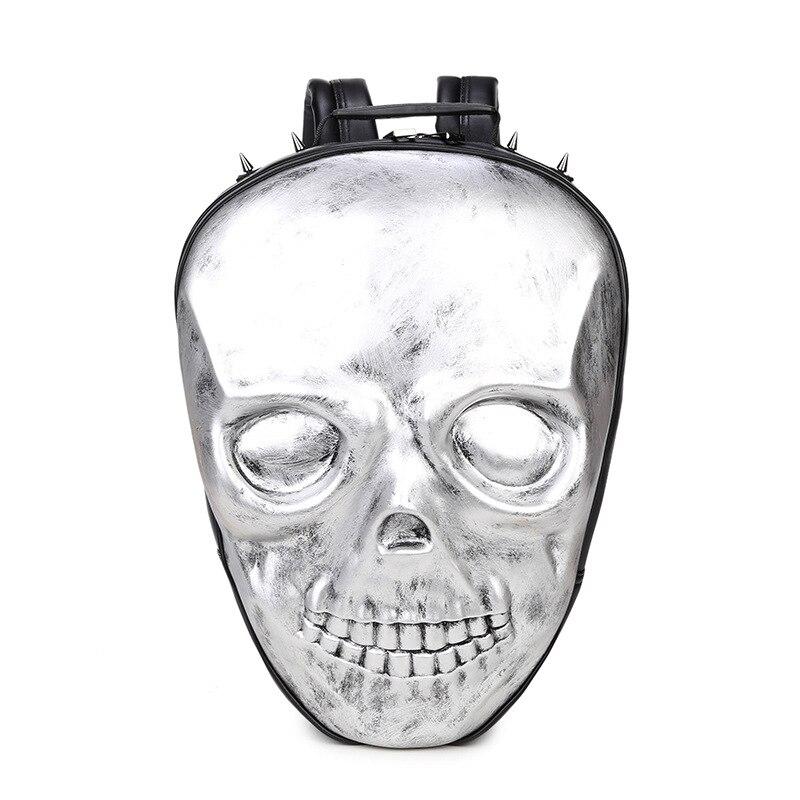 New Unisex Black Leather Backpack 2017 New Brand Women Rock Style Zipper Shoulder Bags Teenagers Skull Printing Backpacks 2