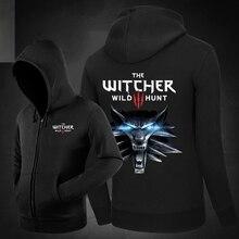 Heißer The Witcher 3: Wilde Jagd Hoodies seitentaschen Hoody Sweatshirts Oberbekleidung Unisex Baumwolle Reißverschluss Spiel Mantel