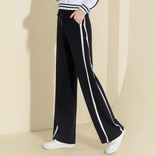 2018 New Fashion High Waist Wide Leg Pants Palazzo Sweatpants Pants Casual Loose Striped Sexy Pants Long Lace Up Warm Trousers
