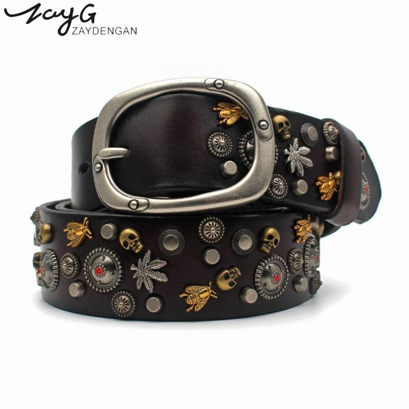 ZAYG Hot Luxurious High Quality Mongolian Wind Rivet Pin Buckle Belt Alloy Buckle Belt European Fashion Women And Man Jeans Belt