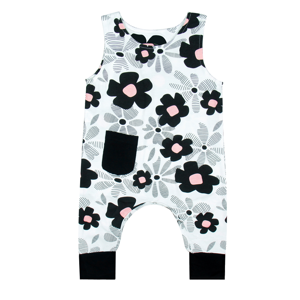 2018 Newborn Lovely Princess Black Floral Print Sleeveless Baby Girls Jumpsuits Baby Girl Clothes Onesie Rompers Overalls Baby