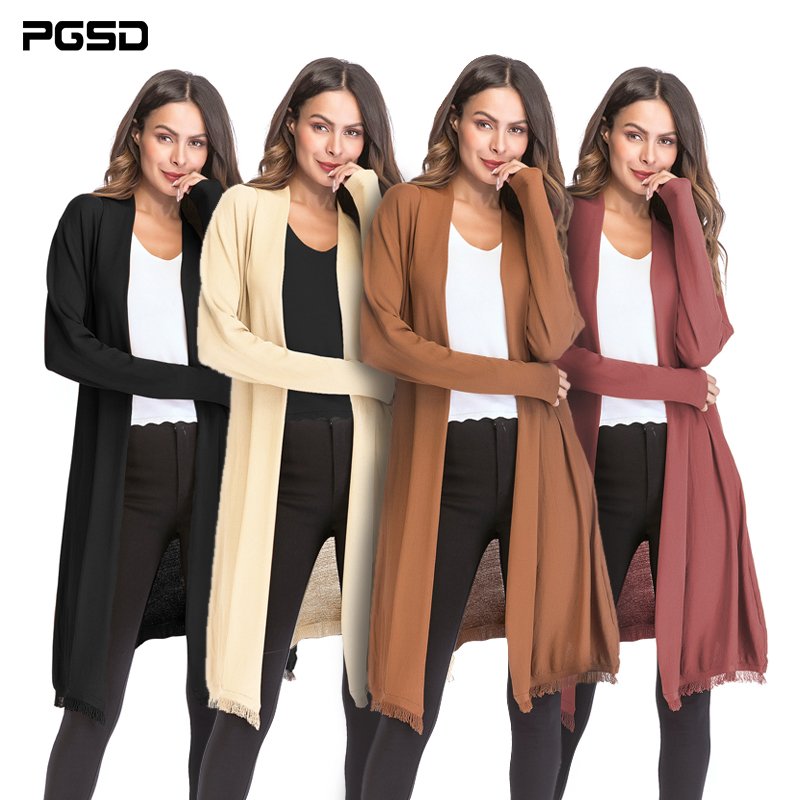 PGSD New Autumn Winter Women Clothes Simple Pure color tassel Long sleeved thin knitted sweater Long inverness cardigan female