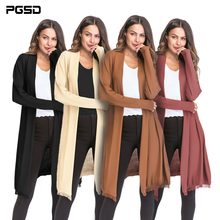 PGSD New Autumn Winter Women Clothes Simple Pure color tassel Long sleeved thin knitted sweater inverness cardigan female