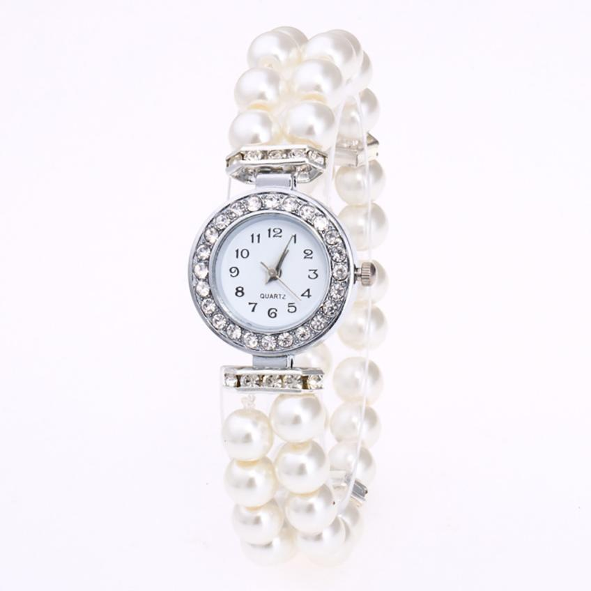 Fashion Women Watch Ladies Wristwatch Luxury Casual Pearl String Quartz Wrist Bracelet relojes mujer montre femme watch #D new design luxury wrist watch women rhinestone bracelet watches fashion ladies analog quartz watch montre femme casual relojes