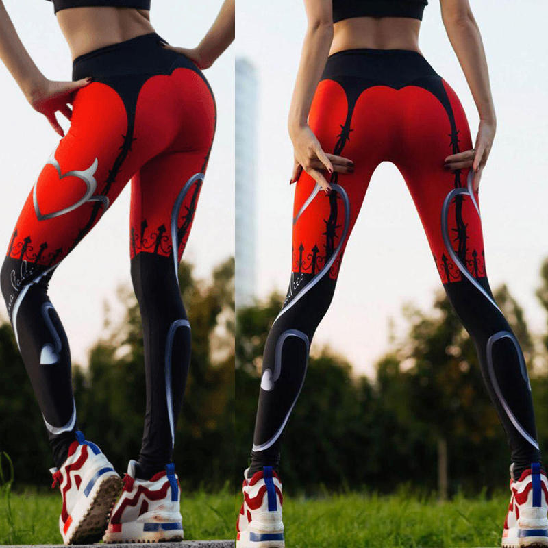 5b16e88268 CROSS1946 Yoga Pants Heart Print Leggings Women's Sport Fitness Tights Red  Black Patchwork Running Sportswear Push Up Legency ~ Free Delivery June 2019