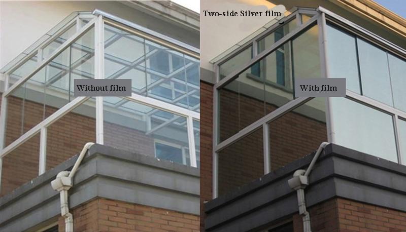 30120cm width twoside silver insulation window film stickers solar reflective one way
