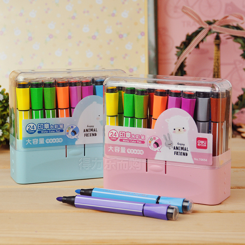 Cute Kids Drawing Pens Stamp Children seal Washable Watercolor Pen Graffiti Art Marker Painting Pen 12/18/24/36 Color Set big one simulation animal toy model dinosaur tyrannosaurus rex model scene