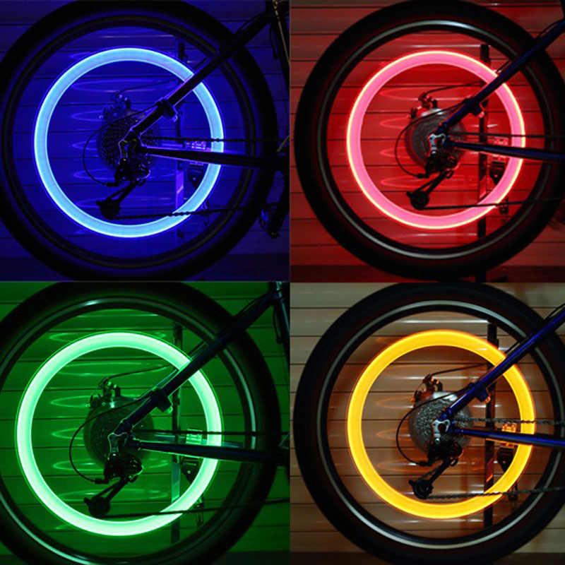 2 Pcs אופניים שסתום אורות גלגל חישורים צמיג LED אור גלגל אורות עם סוללה מותקן מראש גלגל דיבר רכיבה על אופניים אופני מרכיבים ל