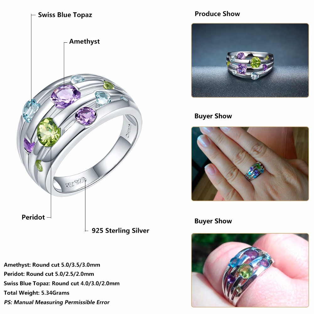 Hutang Natural Amethyst Wedding Rings Peridot Topaz Solid 925 - Smykker - Foto 6