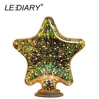 Lediary 3d装飾ledフィラメント電球スター形状100ボルトの240ボルトe27ナイトライトリアル> 4ワットガラスwirework効果無ちらつきeu米国