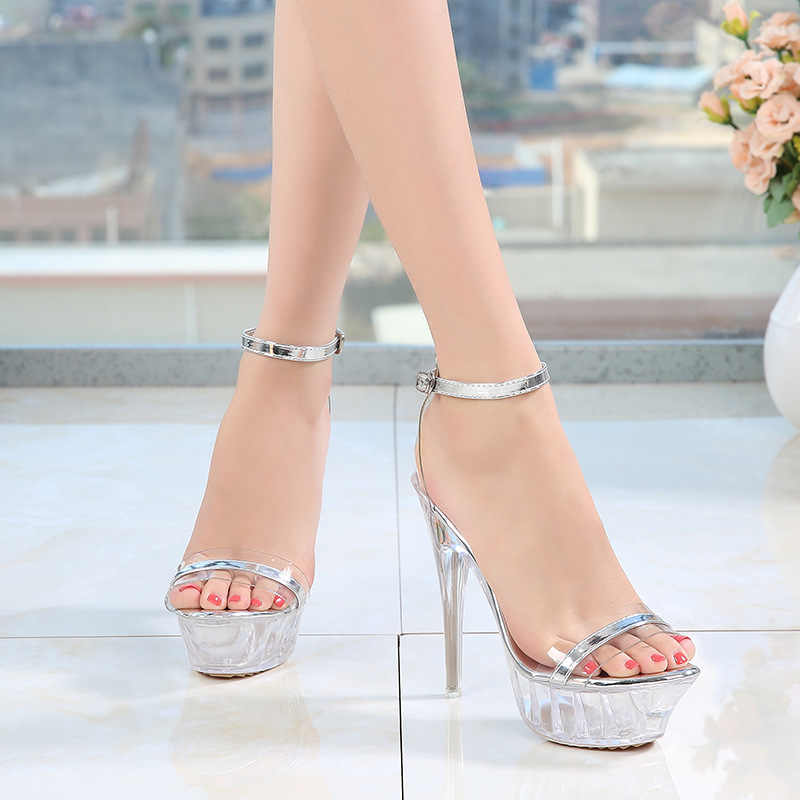 588162d6b7 ... PVC Jelly Shoes Sandals For Women 2019 High Heels Transparnet Summer  Sandals Clear Heels Ladies Gladiator ...