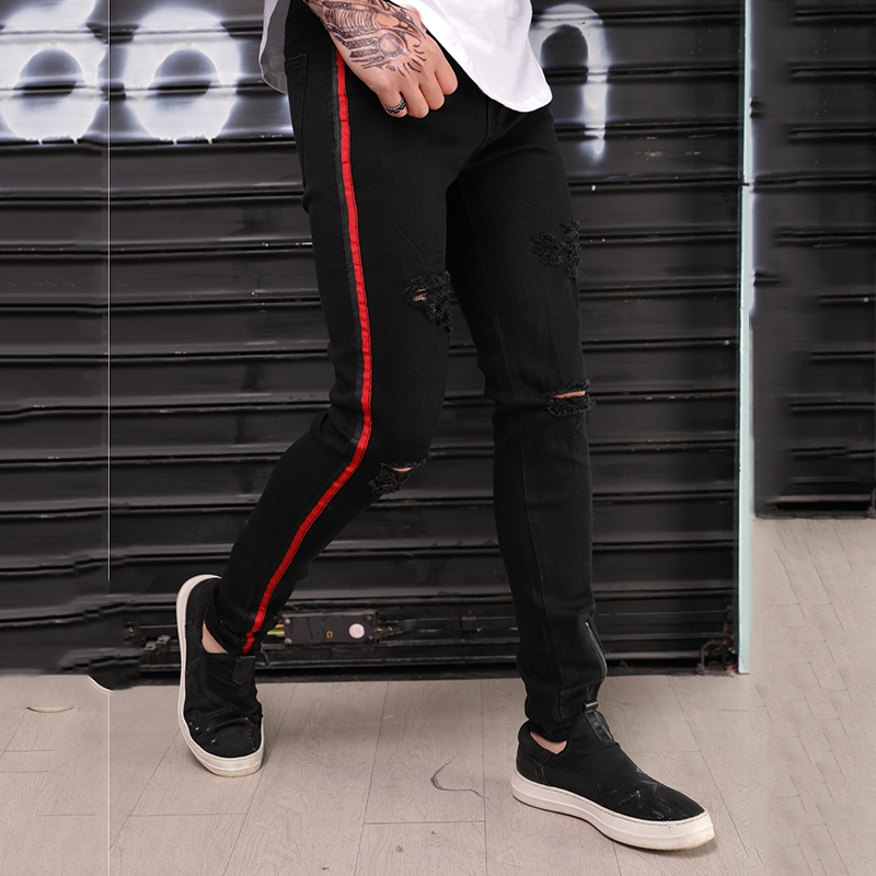 9a330b1c9c26 Silentsea Men Jeans Side Red Stripe Denim Ripped Holes Slim Supper Black  Color Skinny Hip Hop Jeans Men-in Jeans from Men s Clothing on  Aliexpress.com ...