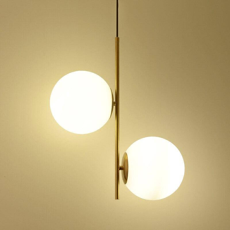 Lâmpada pendurada moderno luz LED quarto cama sala de jantar foyer rodada bola de vidro ouro preto nordic simples luz pingente moderno lâmpada