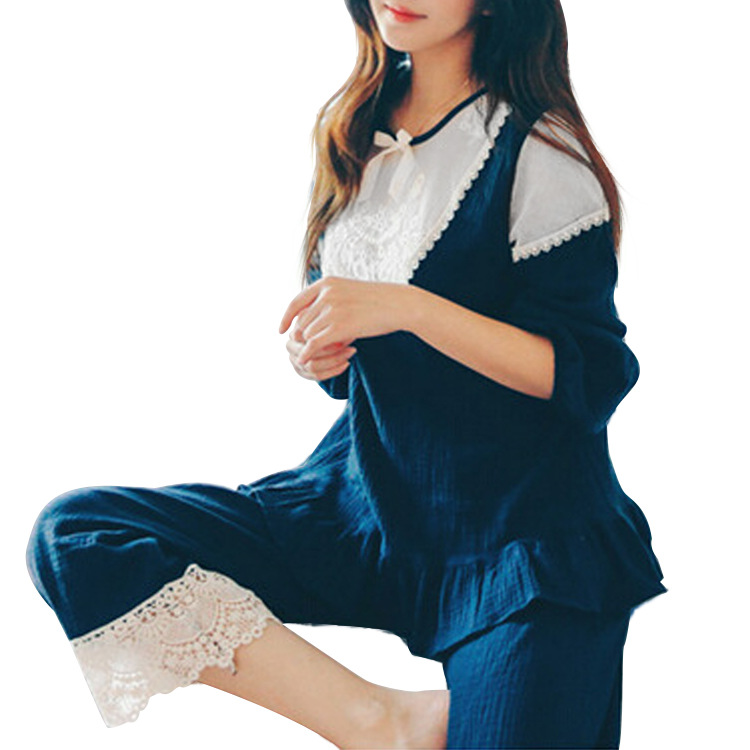 ФОТО spring and summer leisure clothing | month gauze lace maternity lactation clothes suit summer long sleeved out pregnant women