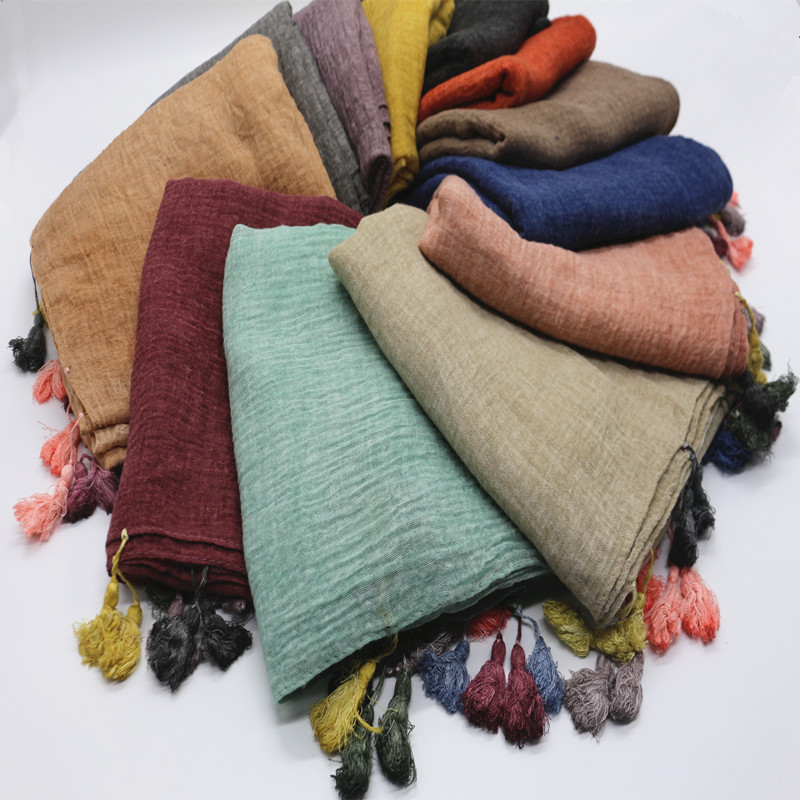 12 colors New candy color tassel hijab plain maxi scarf vintage fashion shawls scarves muslim solid hijabs cosy muffler foulard