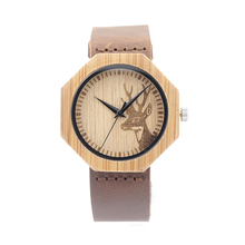 BOBOBIRD A14 Men Bamboo Wood Watch Simple Octagon Watch Case Leather Band Casual Quartz Watch OEM Dropshipping in Paper Gift Box