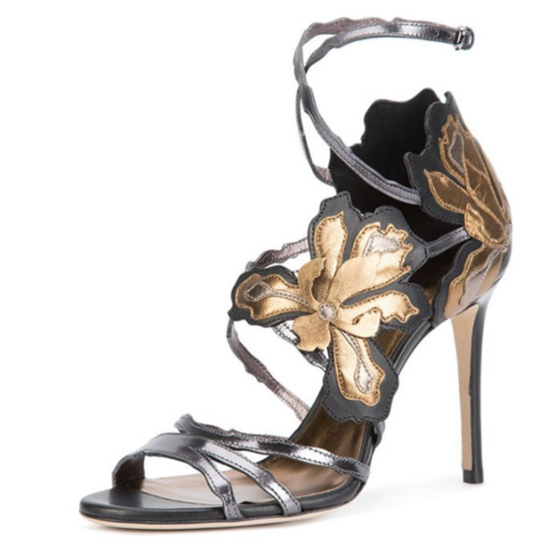 Picture Mujer Dames Femmes Sexy As Boucle Stilettos Sandales D'été Couleurs Fleur Famme Motif Chaussures Mélangées Partie Sandalias Creux Picture as fpfT7qW