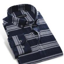 4e2c8f60f4 100 Por Cento de Algodão Escovado Camisa de flanela dos homens Horizontal  Listrado Manga Longa Smart Casual Slim-fit Botão- para.