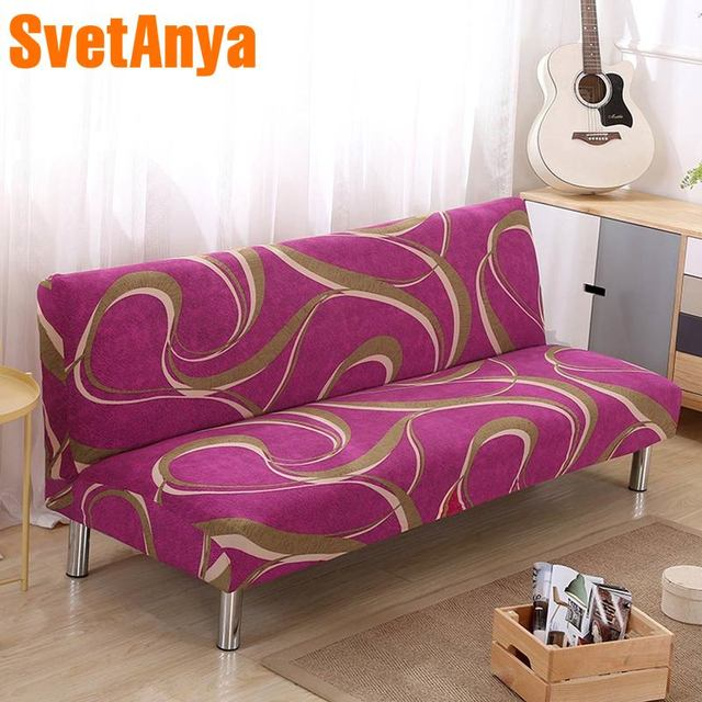 US $17.6 50% OFF|No Armrest Folding Plum red Sofa Cover All inclusive Couch  Case Tight Wrap Elastic Slipcover line Printed -in Sofa Cover from Home &  ...
