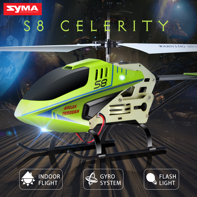 Official SYMA S8 3CH RC Helicopter with Gyro Remote Control Toys Mini Drone LED Flashing Aluminum Anti Shatter Aircraft