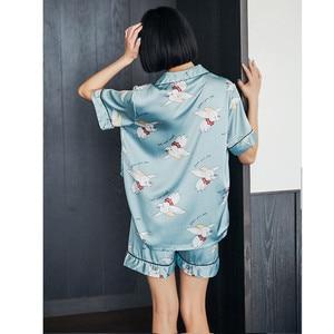 Image 3 - Caiyier Silk Pajama Sets Cute Elephant Print Short Sleeve Sleepwear Summer 2019 Women Korean Pyjama Causal Homewear M 3XL
