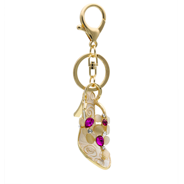 Hot Selling Beautiful High-heeled Shoes Keychain Fashion Rose Gold  Rhinestone Key Chain cadf32d1faef