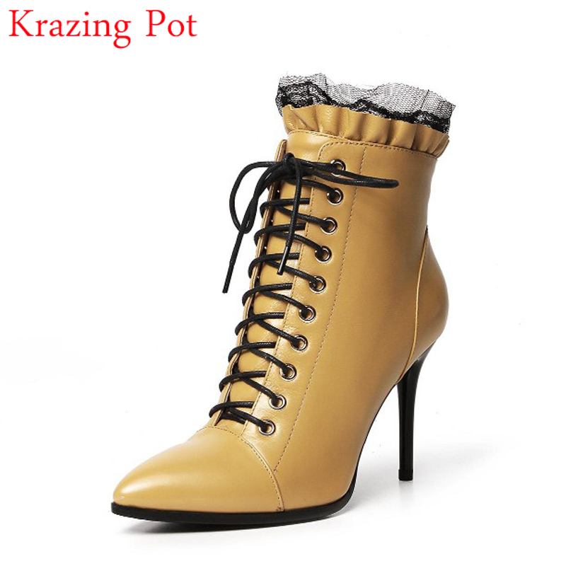 цены 2017 Fashion Winter Boots Genuine Leather Pointed Toe Lace Up High Heel Lace Women Ankle Boots Shoes Simple Style Pluse Size L82