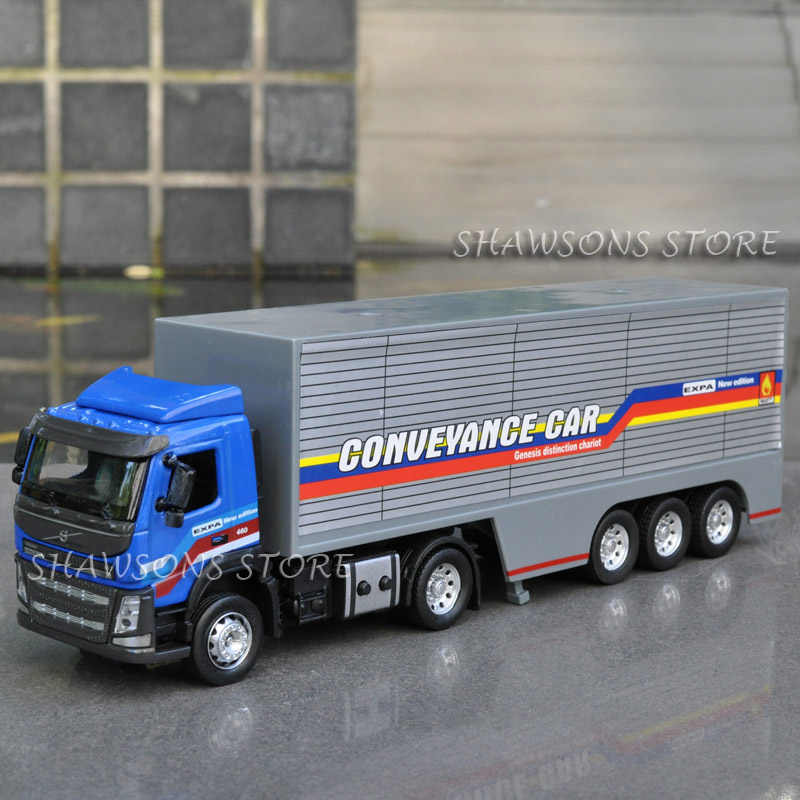 1:50 Diecast Metal Volvo Truk Kontainer Model Mainan Replika Sound & Light