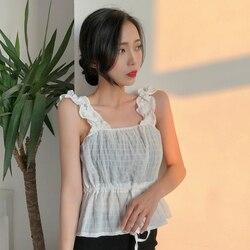 J41638 mujeres chifón camisa y Tops verano Top Casual suelto sin mangas sólido cuello en V mujeres camisas