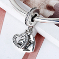 2016 Jewelry 925 Sterling Silver Bracelets Beloved Mother Pendant Charm with Clear Zircon as Gift  for Mother's Day Women Bijoux