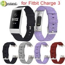 Купить с кэшбэком Strap for Fitbit Charge 3 Watchband Smart Bracelet Replacement Canvas Nylon Denim Men Women Smart watch Accessories new fabric