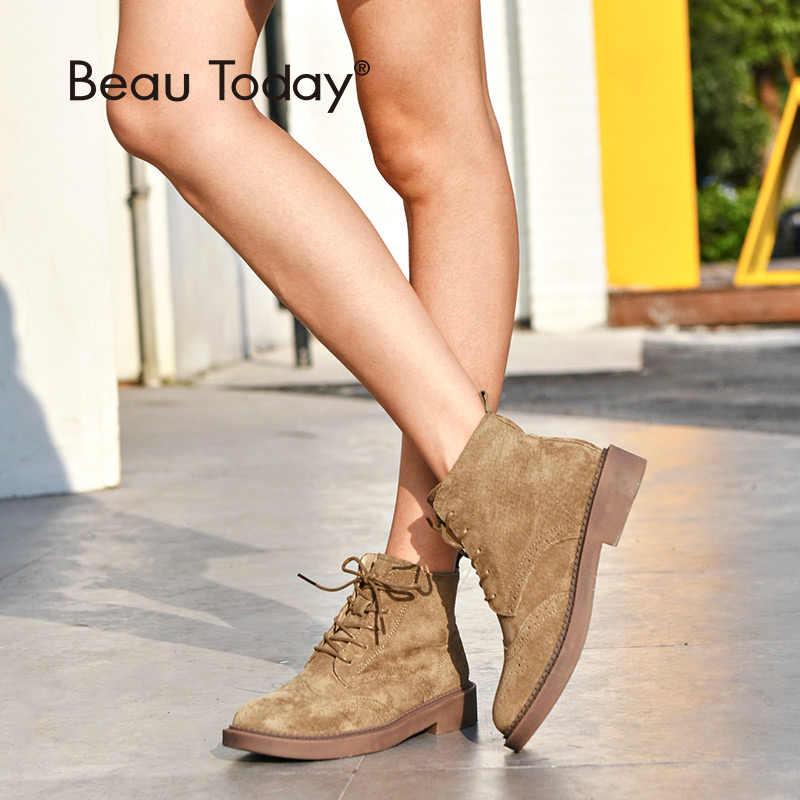 BeauToday yarım çizmeler kadın Brogue tarzı hakiki deri domuz süet el yapımı dantel marka bayan moda ayakkabılar 04017