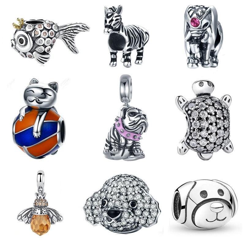 925 Sterling Sølv Kat Bulldog Turtle Elephant Animal Bee Skildpadde Charms Perler Fit Charms Armbånd DIY Perler Smykker Making