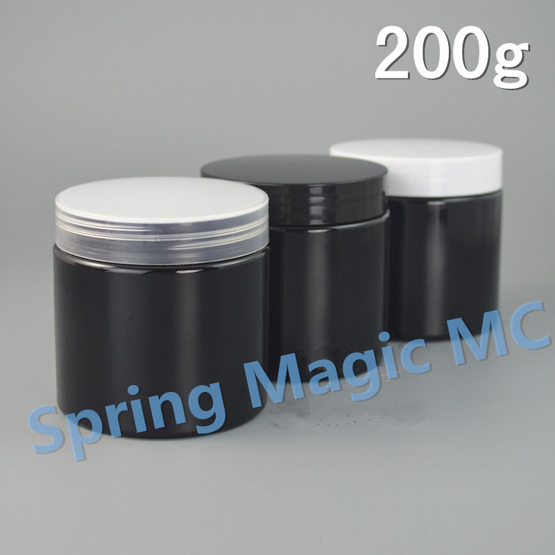 200ml Black Plastic Cream Jar With Black whtie Plastic Lid cosmetic container 200g Dark ointment jar