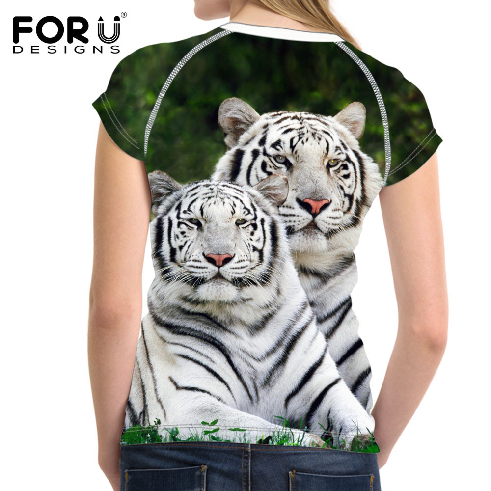 FORUDESIGNS 3D White Tiger Women T-shirt Crop Top For Women T-shirt - Կանացի հագուստ - Լուսանկար 2