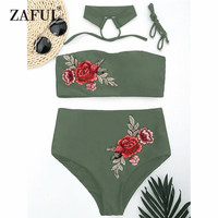 CharMma 2017 Women New Floral Applique Bandeau Collar High Waisted Bikini Sexy Floral Printed Swimsuit Summer