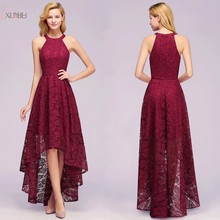 Elegant 2019 Burgundy Lace Long Evening Dress High Low Sexy Halter Sleeveless Gown robe de soiree