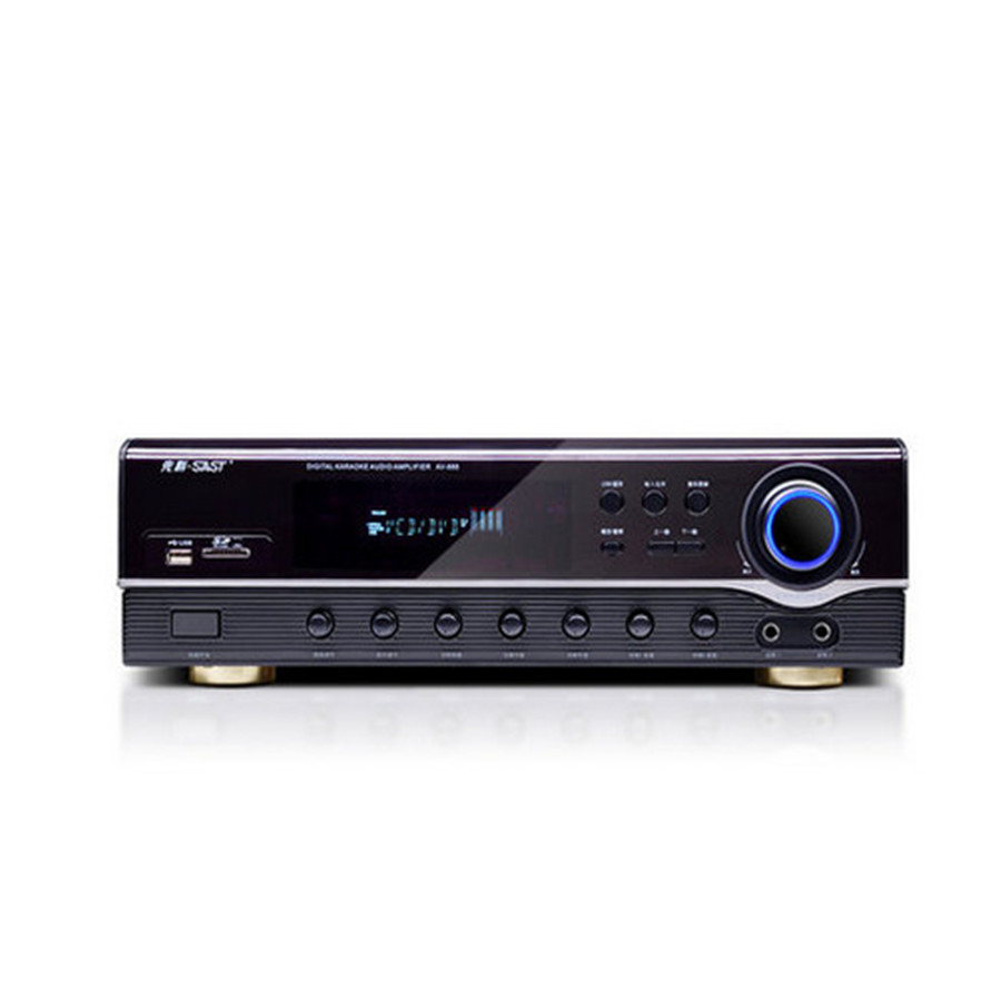 AV-999 800W 5.1 home theater audio Karaoke Digital Amplifier Supports HDMI Fiber coaxial U disk SD card Bluetooth 4.0 microphone