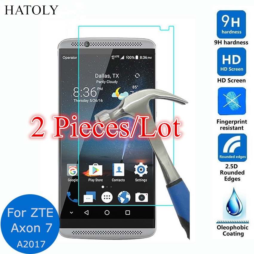 Glass ZTE Axon 7 Tempered Glass For ZTE Axon 7 Screen Protector For ZTE Axon 7 Glass A2017 HD Protective Thin Film HATOLY 2Pcs