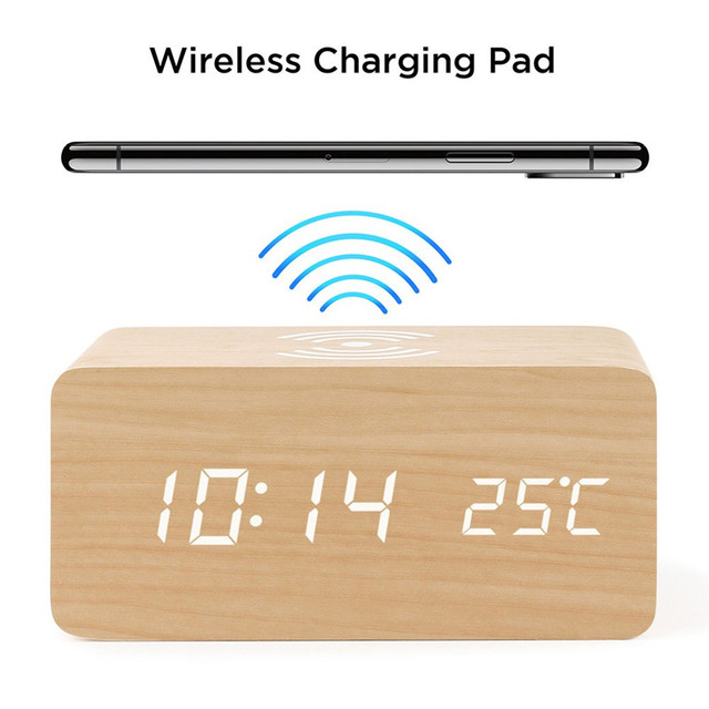 Wooden Alarm Clock With Qi Wireless Charging Pad Compatible With For Iphone Samsung Wood Led Digital Clock Sound Control Funct