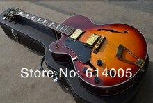 2d5892836d3 Free shipping Wholesale custom Semi Hollow Body left hand L5 Jazz Electric  Guitar cherry sunburst F-hole with bigsby With case